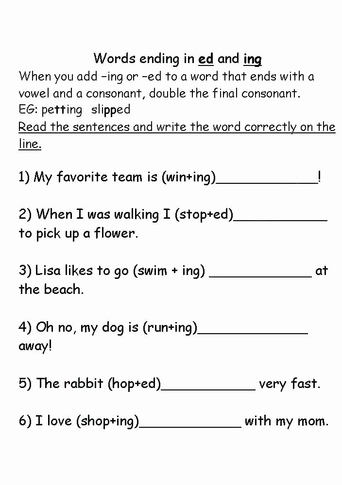Ed and Ing Worksheets Word Study Ed Endings Id Words Ending In Ing and Worksheets