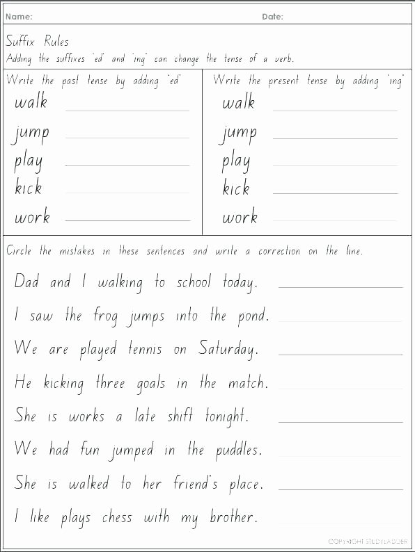 Ed Ending Worksheets Line Past Tense Ed Worksheets Past Tense Words with Ed