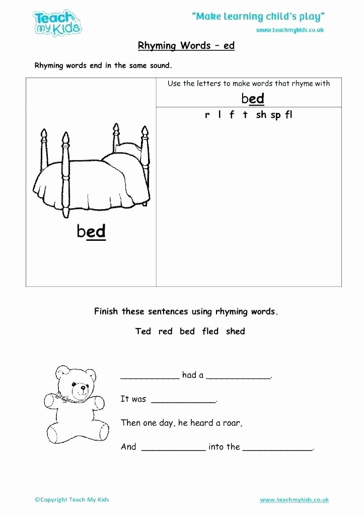 Ed Ending Worksheets Words Ending In Ed Worksheets