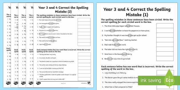 Editing and Proofreading Worksheets Year 3 and 4 Correct the Spelling Mistakes Worksheet