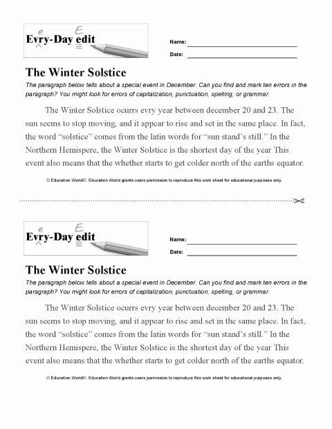 Editing Worksheet 3rd Grade Daily Edit Worksheet Parfu Kaptanband