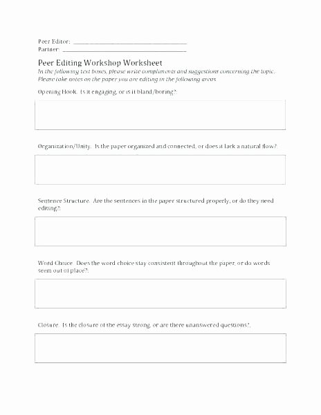 Editing Worksheet 3rd Grade Peer Editing Worksheets High School – Primalvape