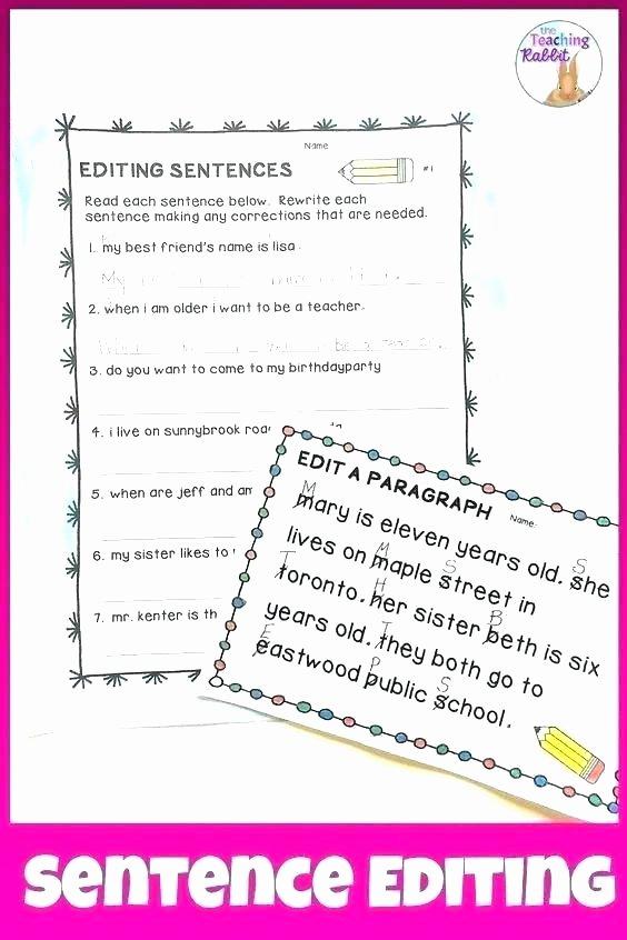 Editing Worksheet 3rd Grade Sentence Editing Worksheets Paragraph Correction Grade
