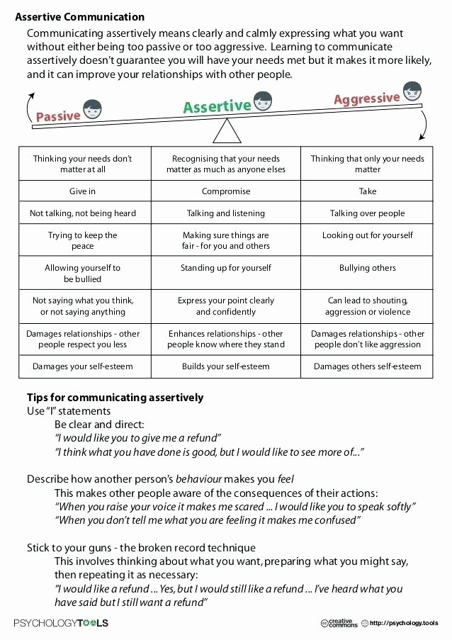 Effective Communication Worksheets Adults assertiveness Worksheets