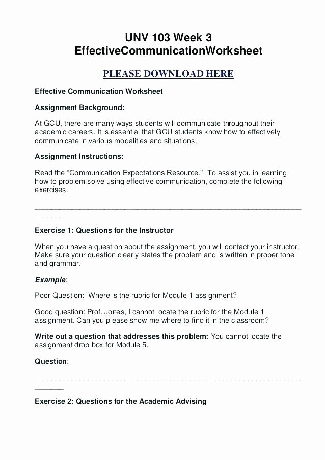 Effective Communication Worksheets Adults Munication Skills Worksheets for Adults Handling social