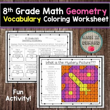 Eighth Grade Vocabulary Worksheets 8th Grade Math Geometry Vocabulary Coloring Worksheet