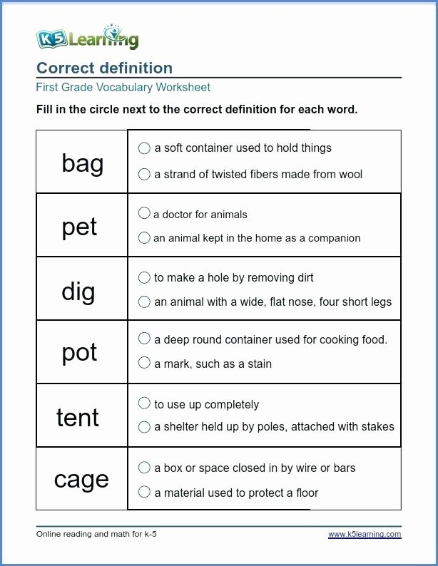 Eighth Grade Vocabulary Worksheets Grade 1 Vocabulary Worksheet Choose the Correct Definition