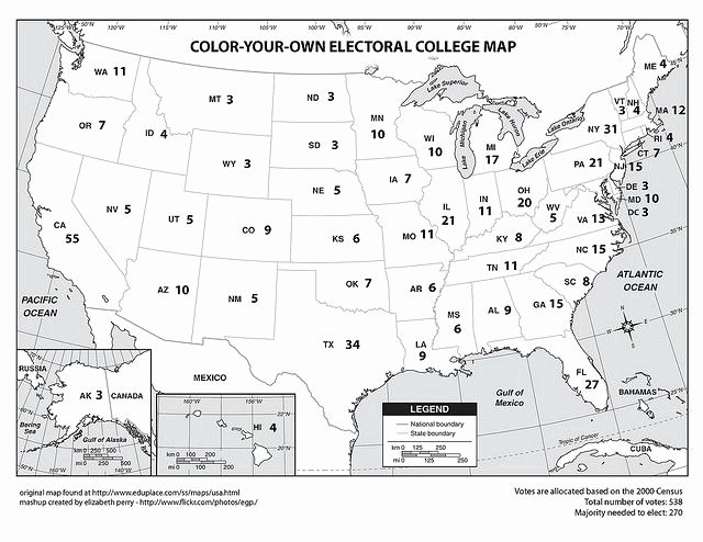 Election Worksheets for Elementary Students Color Your Own Electoral College Map
