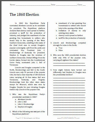 Election Worksheets for Elementary Students the 1860 Election Free Printable American History Reading