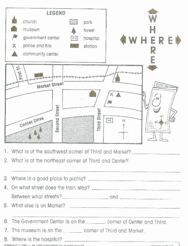 Elementary Map Skills Worksheets 6th Grade Map Skills Worksheets Printable