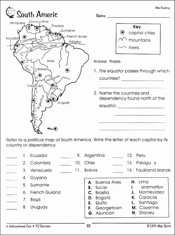 Elementary Map Skills Worksheets Free Map Skills Worksheets Grade A Printable for 3rd