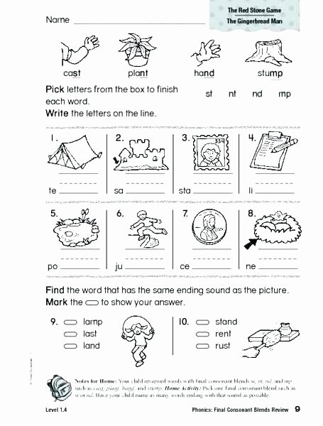 Ending sound Worksheet Lovely 3 Letter Phonics Worksheets Beginning Consonant Blends Blend
