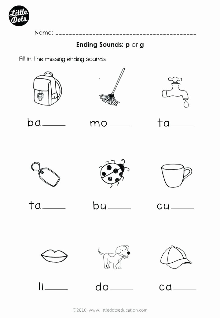 Ending sound Worksheets Free sound Recognition Worksheets