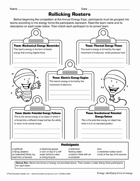 Energy 4th Grade Worksheets forms Of Energy Worksheet Electricity