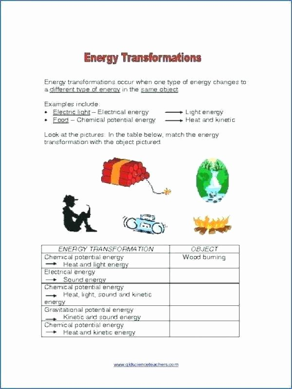 Energy Worksheets for 3rd Grade Energy Conversion Worksheets Middle School Transformations