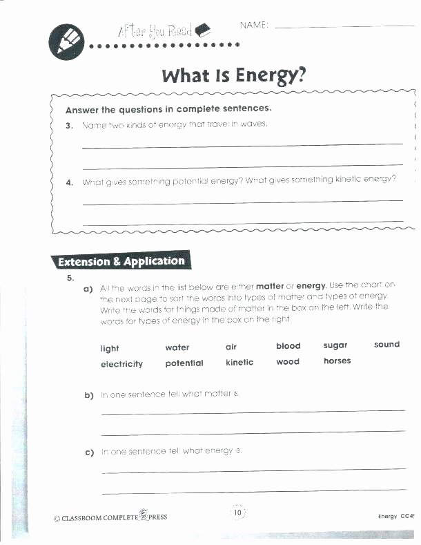 Energy Worksheets for 4th Grade force and Motion Worksheets Grade forms Energy Worksheet