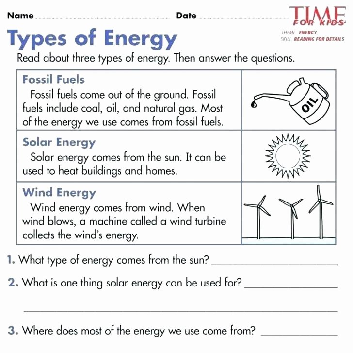 Energy Worksheets for 4th Grade forms Of Energy Worksheets – Primalvape