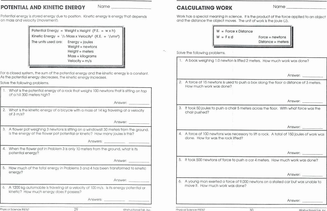 Energy Worksheets for 4th Grade Work and Energy Worksheet Doc for Grade 5 force Motion