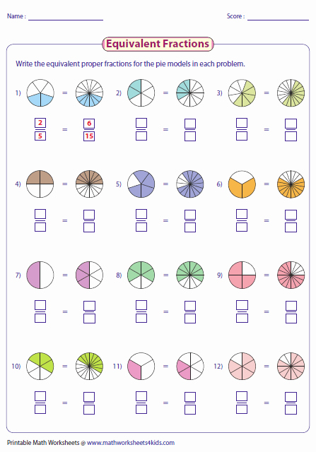 Equivalent Fractions Worksheets 5th Grade Writing Equivalent Fractions Using Pie Model