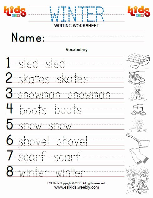 Esl Writing Worksheets Pdf Winter Activities Games and Worksheets for Kids
