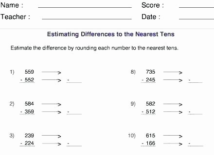 Estimating Differences Worksheets Estimating Sums and Differences Word Problems