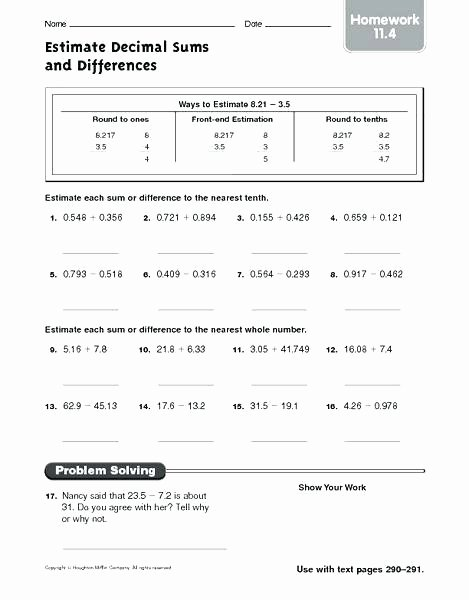 Estimating Differences Worksheets Free Estimation Worksheets