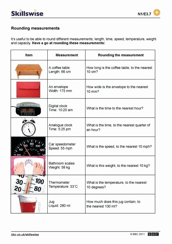 Estimating Measurement Worksheets Rounding Measurements and Estimating Worksheet Preview Time