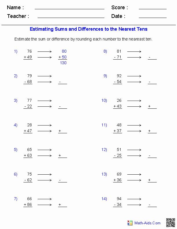 Estimating Sums Worksheets 3rd Grade Multiplication Using Estimation Worksheets