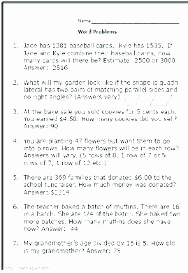 Estimating Word Problems 3rd Grade First Grade Word Problems Worksheets