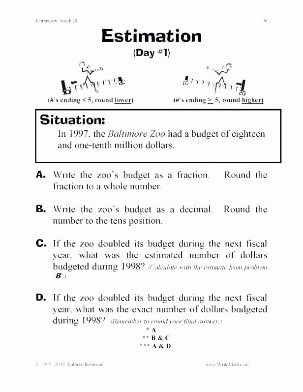 Estimating Word Problems 3rd Grade Third Grade Rounding Worksheets