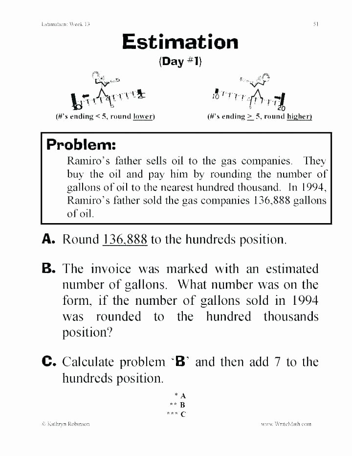 Estimation Maths Worksheets Fourth Grade Math Worksheets Rounding Numbers