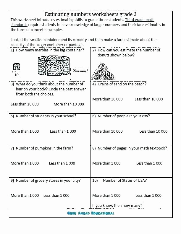 Estimation Maths Worksheets Rounding Numbers Worksheets Grade 5