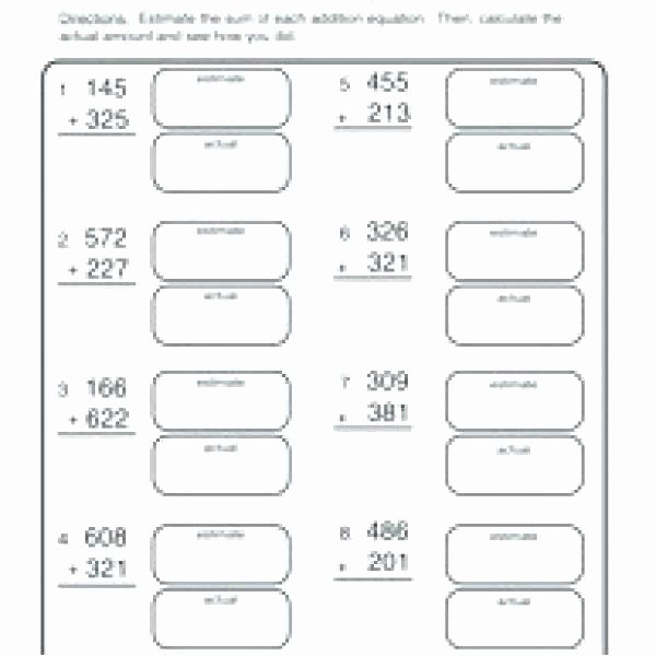 Estimation Worksheets for 3rd Grade Math Worksheets Estimating Sums and Differences with Front
