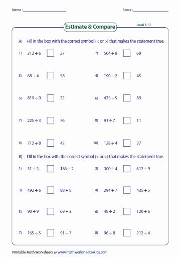 Estimation Worksheets for 3rd Grade Multiplication Using Estimation Worksheets