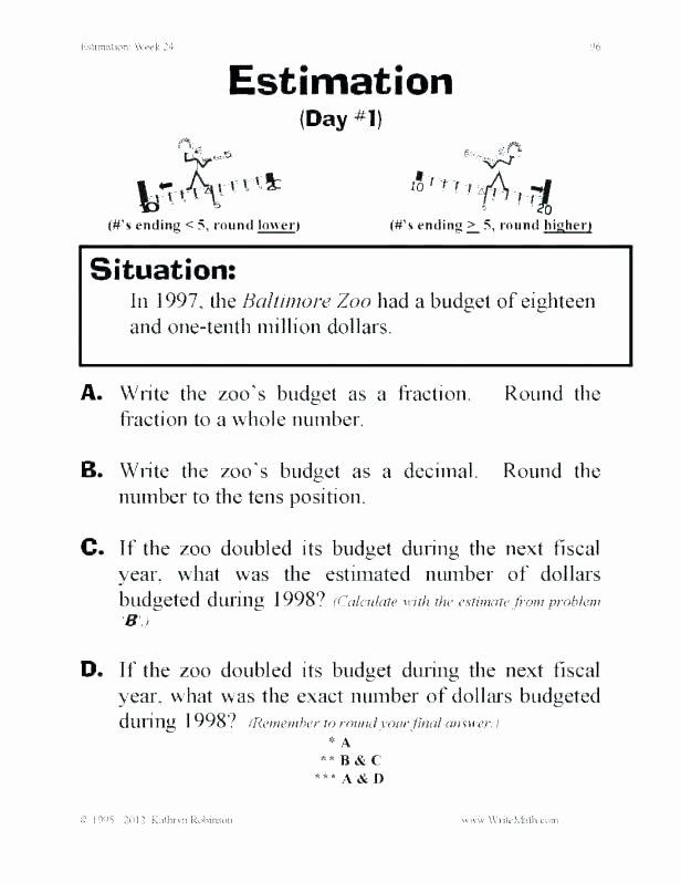 Estimation Worksheets for 3rd Grade Third Grade Rounding Worksheets
