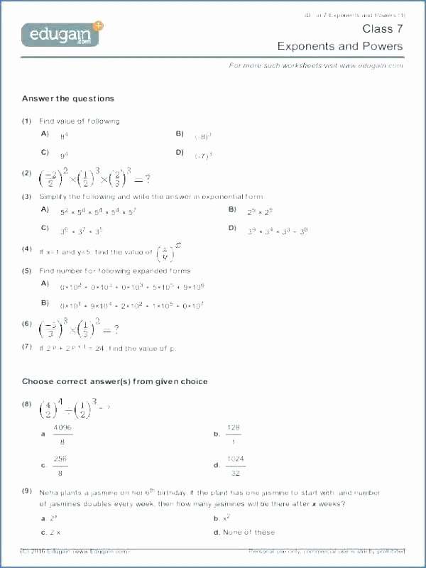 Expanded form with Exponents Worksheet Powers and Exponents Worksheets Wonderfully Adding