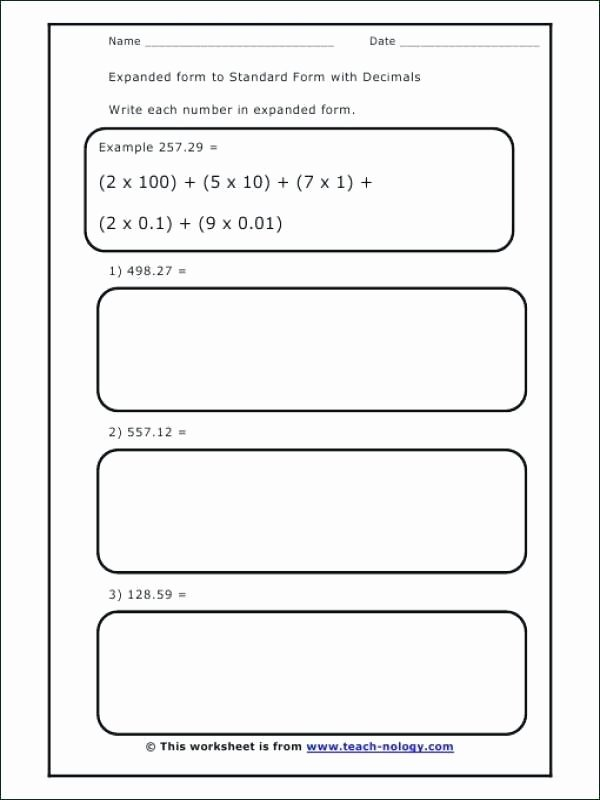 Expanded form with Exponents Worksheet Worksheets Writing Decimals In Standard and Expanded form