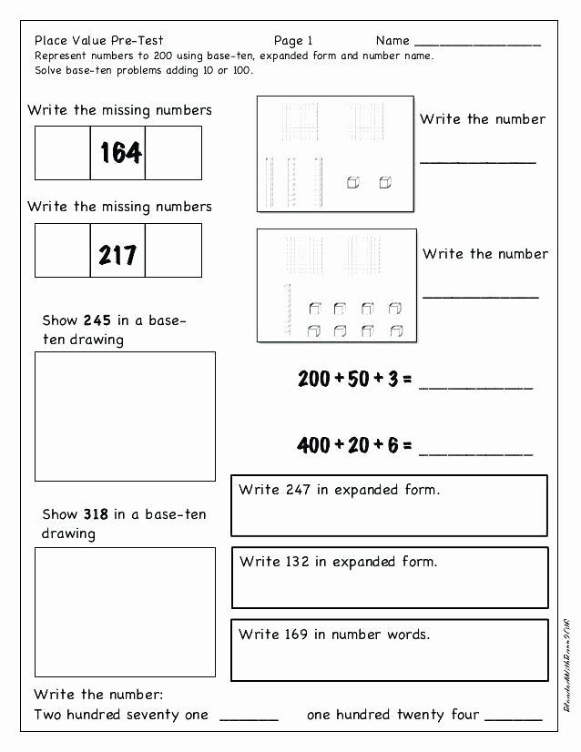 Expanded form Worksheets 1st Grade Place Value Worksheets 3rd Grade