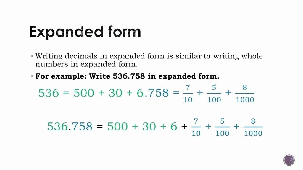 Expanded form Worksheets 5th Grade Decimal Expanded form Worksheets Math Worksheet Writing