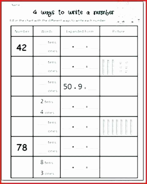 Expanded Notation Worksheets Paring Numbers Worksheets First Grade Place Value and