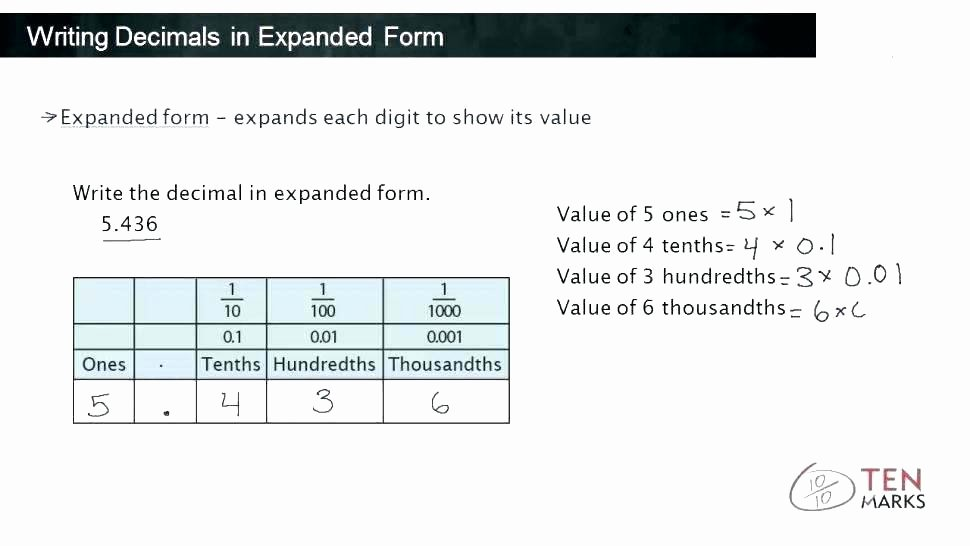 Expanded Notation Worksheets Reading Decimals Worksheets – Primalvape