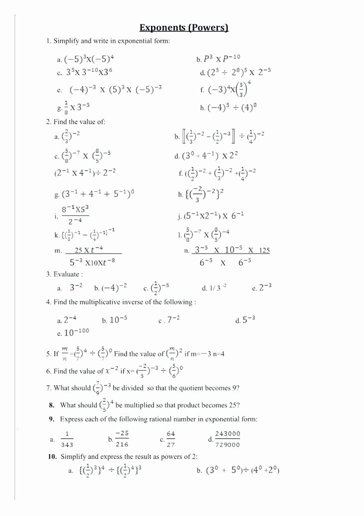 Exponents Worksheets 6th Grade Pdf Grade Exponents Worksheets order Operations with Sixth Math