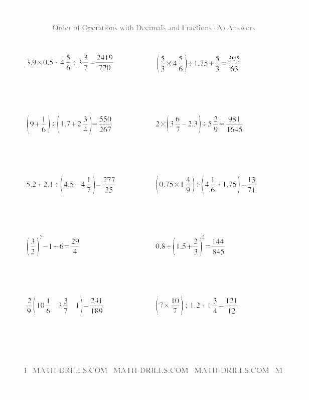 Exponents Worksheets 6th Grade Pdf order Of Operations with Exponents Worksheets