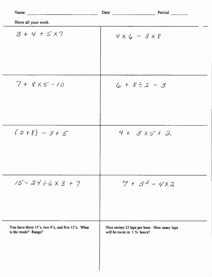 Exponents Worksheets 6th Grade Pdf Pemdas Worksheets 6th Grade