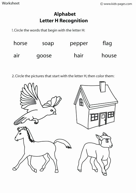 F Worksheets for Preschool Letter H Worksheets