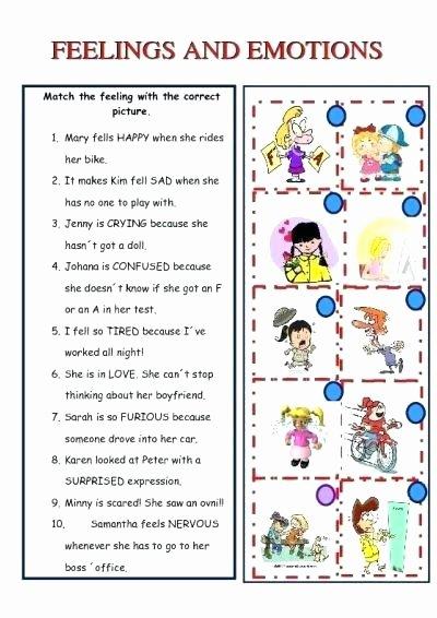 Feelings and Emotions Worksheets Printable Feelings and Emotions Worksheets Black for Kindergarten
