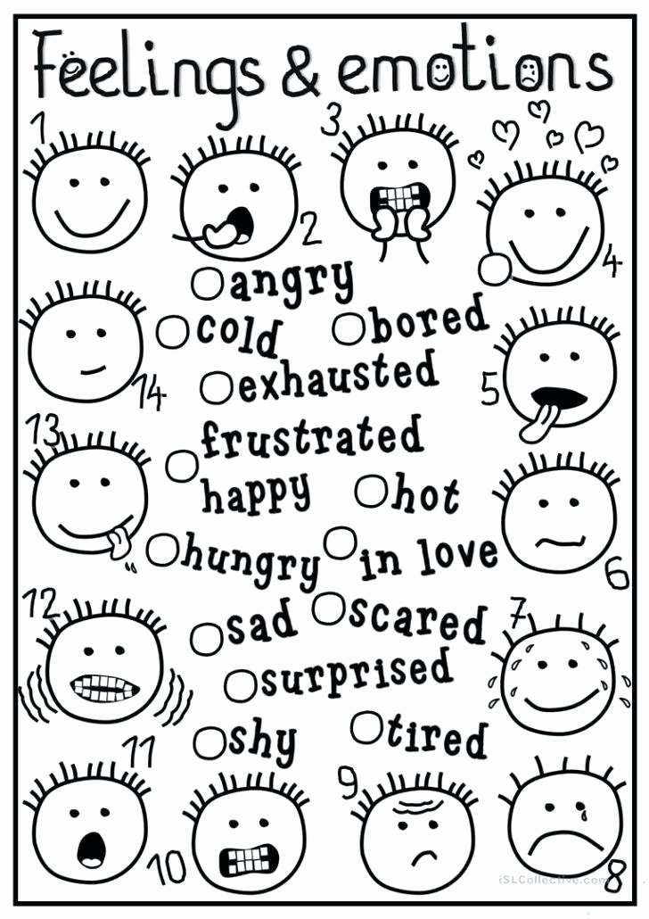 Feelings and Emotions Worksheets Printable Feelings and Emotions Worksheets Printable