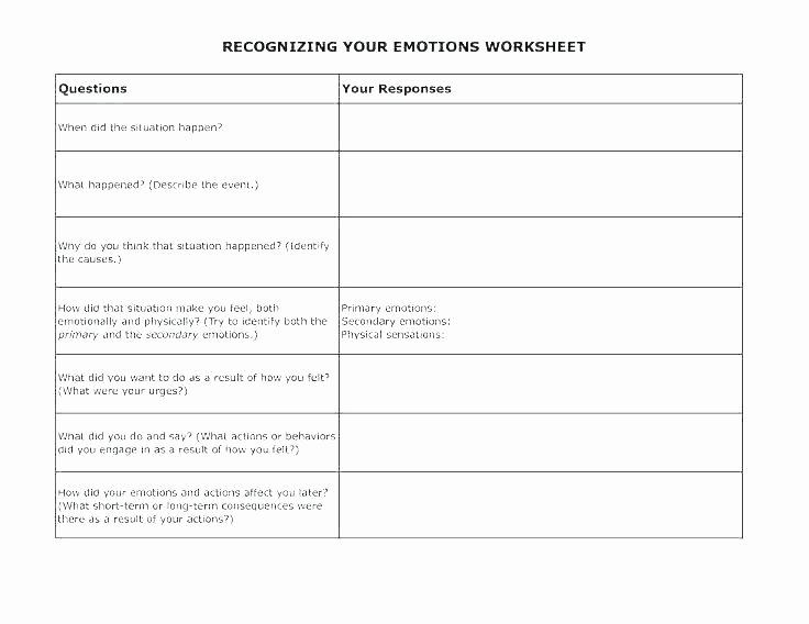 Feelings Worksheets for Adults Elegant Feelings Worksheets Emotions Kindergarten for Free