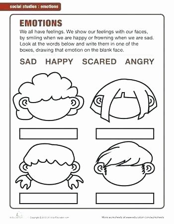 Feelings Worksheets for Kids Emotional Intelligence Worksheets