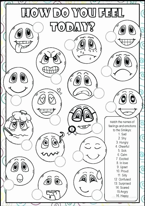 Feelings Worksheets for Kids Worksheet Identifying Emotions for Kids toddler Adults
